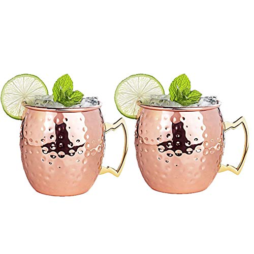 Moscow Mule Copper Mugs Set of 2, 16 oz Pure Hammered Copper Drum-Type Beer Cup Cocktail Water Glass Drinkware