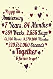 7 Years Of Marriage/happy anniversary: 7th Wedding Anniversary Celebrating, Marriage Anniversary Notebook Journal, Married for 7 Years Wedding duo diary, Sweet Memories Notebook Card Alternative