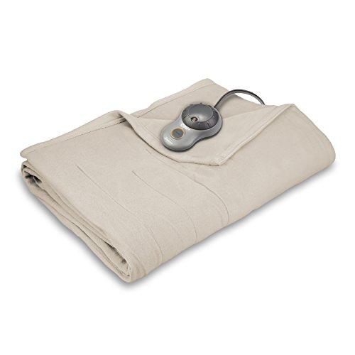 Sunbeam Heated Blanket | 10 Heat Settings, Quilted Fleece, Seashell Beige, Queen - BSF9GQS-R757-13A00