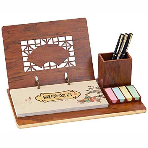 Yxp 2020 Wooden Pen Note Holder Calendario Business Plan Questo Stile Cinese Hollow Nuova Imitazione Mogano Calendario da Tavolo,Marrone,A