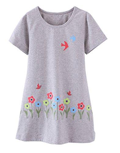 ABClothing ABClothing Mädchen Bird Pyjamas PJS Shortie Kleid langes Hemd 4-5 Jahre grau