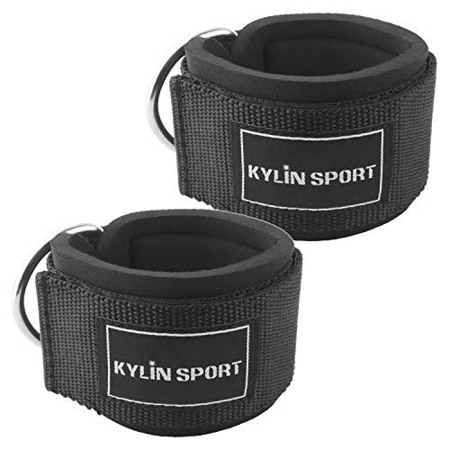 Kylin Sport - 2 cinghie per caviglie, per sollevamento pesi, puleggia, cinghia da polso, per sollevamento pesi e fitness sul cavo