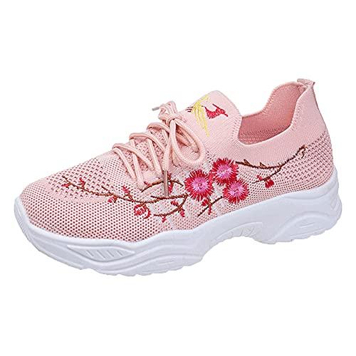 URIBAKY - Scarpe da donna in maglia ricamata, alla moda, con lacci, suola morbida, suola piatta, scarpe casual, traspiranti, atletiche, Rosa, 38 EU