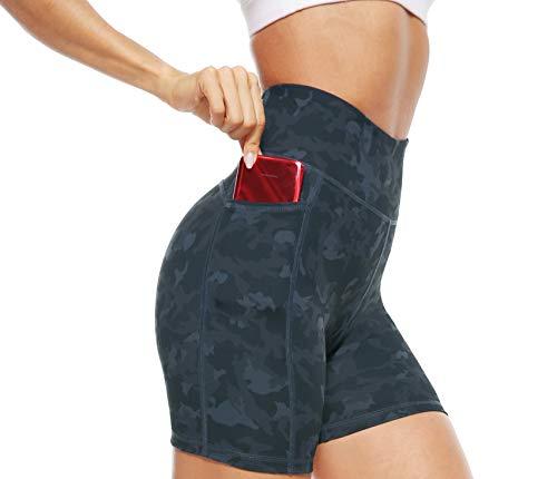 JOYSPELS Kurze Sporthose Radlerhose Damen mit Print Muster Kurze Hose Leggings Laufhose Damen Kurz, Camo, XL