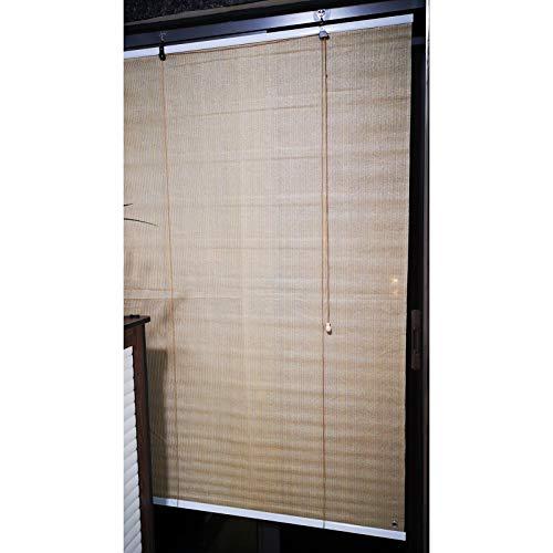 Persianas De Sombra, Persiana Enrollable Shadow, Pantalla De Privacidad, HDPE Transpirable Resistente A Los Rayos UV con Gancho para Balcones, Pérgola, Cubierta (Color : Beige, Size : 0.6x2m)