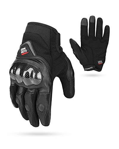 Handschuhe für Motorrad, Sport, Handschuhe mit Schutzhandschuh, für Sommer und Motorrad, Rutschfest, Touchscreen XL Schwarz