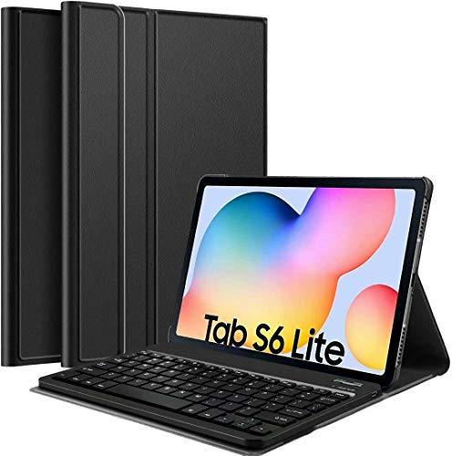 FONCBIEN Funda con Teclado para Samsung Galaxy Tab s6 Lite, Funda con Teclado Bluetooth Desmontable, Teclado Retroiluminado Compatible con Funda Protectora para Pulgadas 2020, SM-P610 / P615