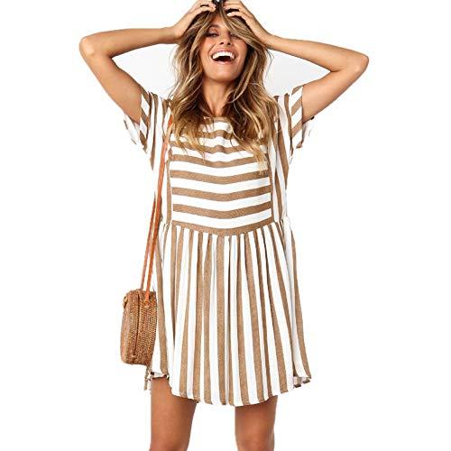 Course Vestido Corto Mujer Casual Vestido Raya Mujer Elegante Vestido Mujer Corto para Oficina Cuello Redondo- Vestido Verano Mujer para Playa y Fiesta