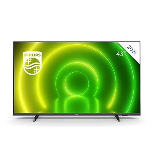 Philips 43PUS7406 Smart TV UHD LED Android de 43 Pulgadas con Ambilight, Imagen HDR Vibrante, Sonido Dolby Vision y Atmos cinematográfico, Compatible con Google Assistance y Alexa, Bisel Negro Mate