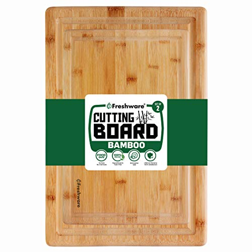 Cutting Boards for Kitchen [Bamboo, Set of 2] Eco-Friendly Wood Cutting Board for Chopping Meat, Vegetables, Fruits, Cheese, Knife Friendly Serving Tray with Handles, 100% Natural Bamboo