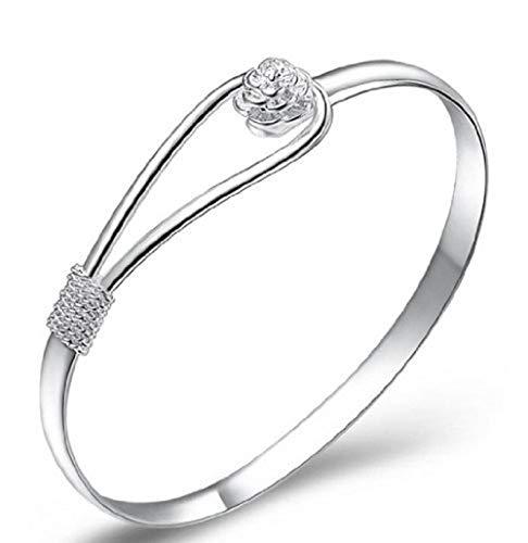 Armband mit Klemmverschluss, elegantes, klassisches Design, Sterling-Silber 925