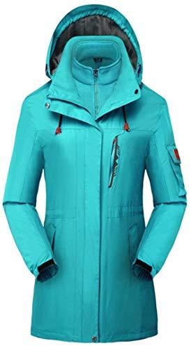 Damen Schneejacke 3-in-1 Winddicht Ski Snowboard Wechseljacken Regenmantel Outwear Windbreaker - Blau - US-Large/Etikett-XXX-Large(65.7 Kgs)