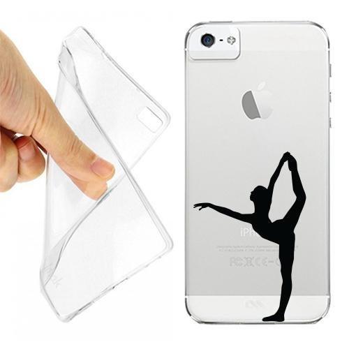 Custodia Cover Case Donna Danza Gamba per iPhone 5 5S Trasparente