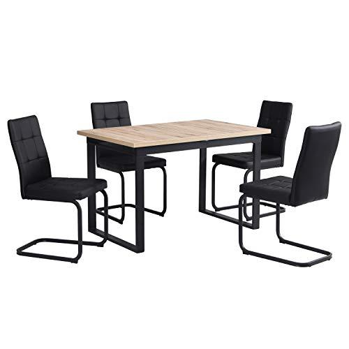 B&D home - Essgruppe mit 4 Stühlen | Esstisch ausziehbar 120-160x80 cm - Sanremo Eichen-Optik | Freischwinger Stühle