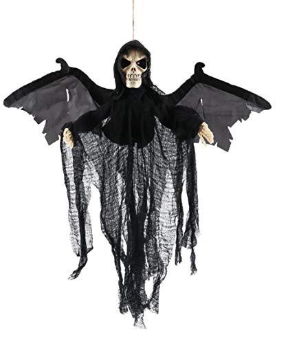 NJYBF - Decoración de fantasmas para Halloween, con sonido y ojos brillantes para decoración de Halloween, color negro