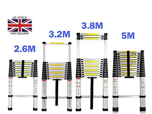 Aluminium Verlengladder, Home Garden Telescopische Ladder, Loft Office Stepladder Multi Purpose Uitschuifbare Draagbare Stap Ladder met Anti-Slip Rubber Voeten 330 lbs Capaciteit EN131 Standaard 3.2M/10.5FT Extension Ladder