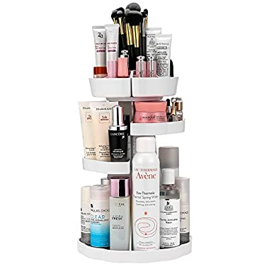 Jerrybox Makeup Organizer Adjustable Professional Makeup Organizer, Compact Size with Large Capacity, Fits Different Types of Cosmetics and Accessories, White