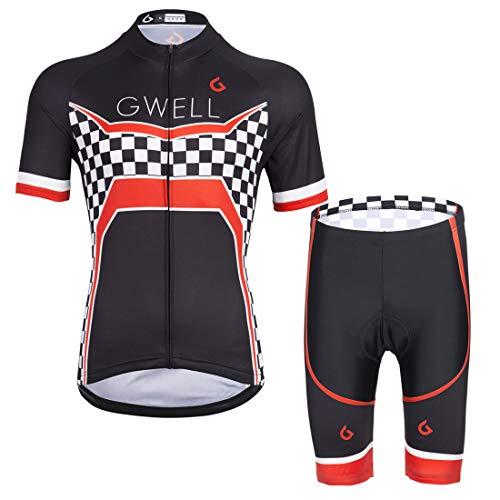 GWELL Herren Radtrikot Set Fahrradbekleidung Fahrrad Trikot Kurzarm + Radhose mit 3D Sitzpolster Muster-H (Neue Größe) S