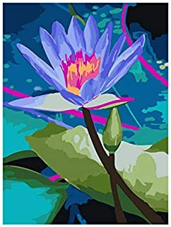 ZHAOSHOP Digital Painting Coloring by Numbers,DIY Painting by Numbers,Decorative Picture Lotus,Flower Pictures by Numbers,Frameless DIY Painting