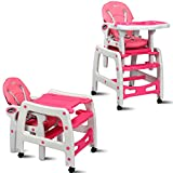 INFANS 3 in 1 Baby High Chair, Convertible Toddler Table Chair Set, Rocking Chair, Multi-Function Seat with Lockable Universal Wheels, Adjustable Seat Back, Removable Trays (Pink)
