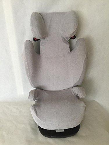 Sommerbezug Schonbezug für Cybex Solution M, M-Fix, S-Fix, M SL Frottee 100% Baumwolle hellgrau