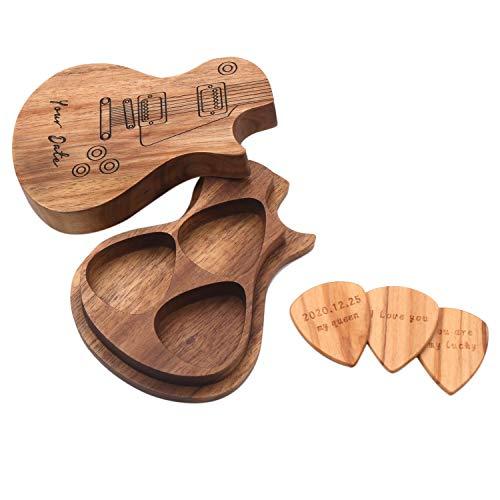 TOOGOO Púas de Guitarra Cualquier Mensaje Paquete de 3 Soportes para Caja de Madera para Guitarra Regalo Musical para Ukelele Bajo Eléctrico Acústico