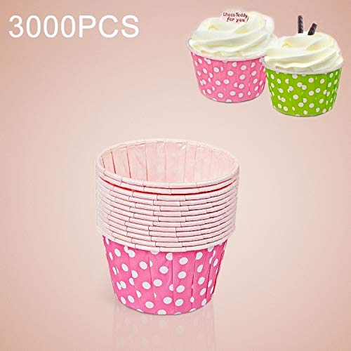 Find Discount HUIFANGBU 3000 PCS Dot Pattern Round Lamination Cake Cup Muffin Cases Chocolate Cupcak...