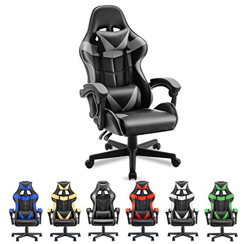 Soontrans Ergonomic Office Chair PC Gaming Chair Racing Chair for Gaming,Computer Chair,E-Sports Chair with High-Back,Adjustable Headrest and Lumbar Support(Galaxy Grey)