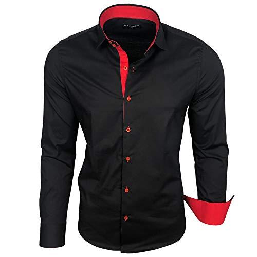 Baxboy Herren-Hemd Langarm/Business Freizeit Hochzeit/Bügelleicht/Slim-Fit/Anzug Kentkragen Hemd B-500, Größen:L, Farbe:Schwarz - Rot