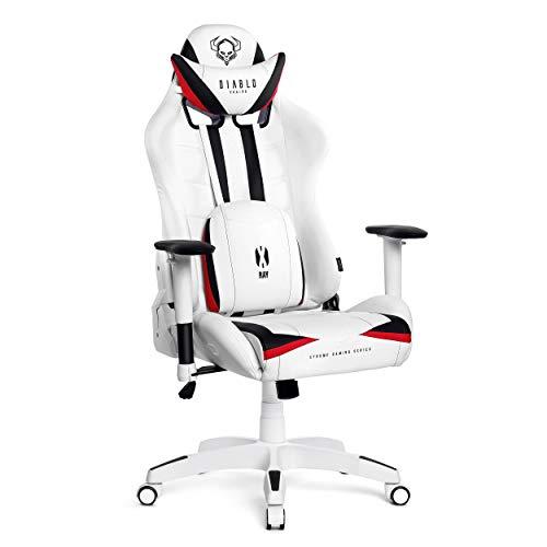 Diablo X-Ray Gaming Stuhl Bürostuhl Schreibtischstuhl 4D Armlehnen Ergonomisches Design Kunstleder Perforation Wippfunktion Belastbarkeit bis 200 kg (weiß-schwarz, XL)