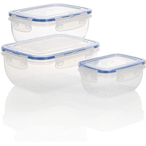 COM-FOUR® Set di 3 pezzi - scatole di plastica in 3 dimensioni per il campeggio o il picnic - scatola di conservazione con coperchio per frutta, verdura, snack (03-parte - trasparente-blu)