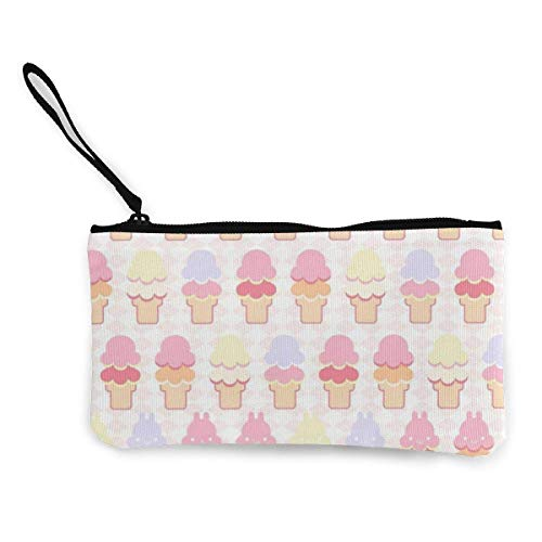 Ice Men's and Women's Cute Fashion Personality Canvas Coin Purse with Zipper Makeup Bag with Wrist Strap Cash Callphone Bag 8.5 X 4.5 Inch-K2