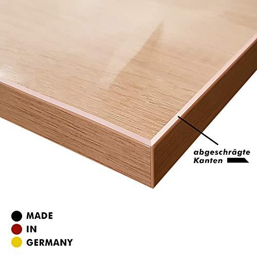 VioLife Tischdecke Tischfolie Tischschutzfolie Transparente PVC Folie Schutzfolie Glasklar 2mm Made in Germany + abgeschrägte Kante (180 x 90 cm)