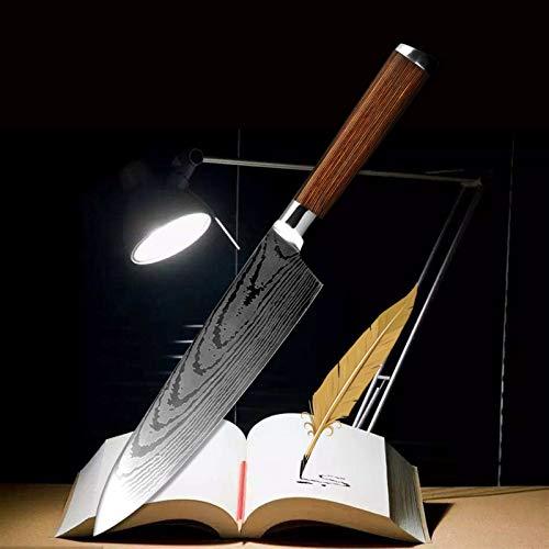 Cuchillo de chef de 8 pulgadas 7 pulgadas Santoku Cuchillo congelado Cuchillo de pan Serguado de 3,5 pulgadas Peeling Tool Modelo de utilidad Non-Stick Cuchillo Madera (Color : 8 in chef knife)