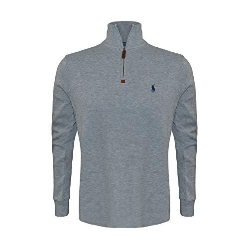 Polo Ralph Lauren Men's Half Zip French Rib Cotton Sweater (X-Large, Grey Heather/Navy Pony)