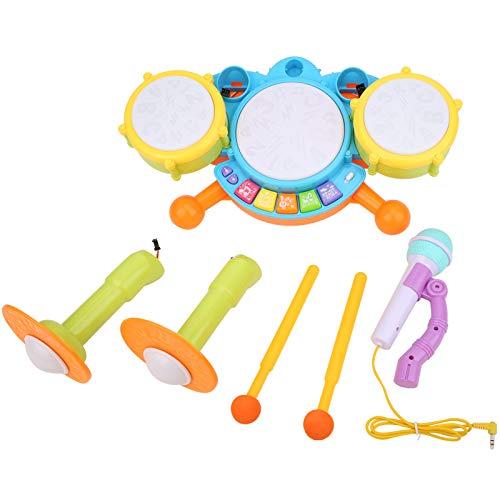 Zerodis Instrumentos Musicales Juguetes de batería, Juego de Juguetes de batería electrónicos con micrófono para niños Aprendizaje temprano Juguete cognitivo Educativo cumpleaños (1)