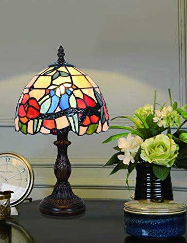 Lámpara de sobremesa de 8 pulgadas, estilo vintage, estilo vintage, vitrales, color cálido, lámpara de mesa, lámpara de escritorio, lámpara de noche