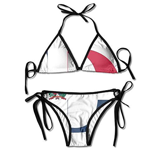 Qinckon Dominikanische Republik Flagge D Brief Bikini Damen Sommer Badebekleidung Dreieck Top Bikinis Badeanzug 2-teiliges Set Schwarz