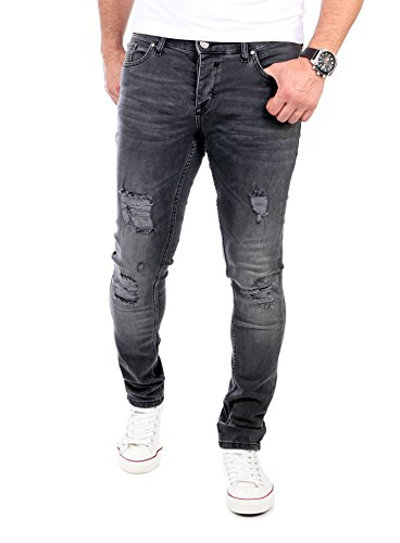 Reslad Jeans Herren Destroyed Look Slim Fit Denim Strech Jeans-Hose RS-2062 Schwarz W29 / L32