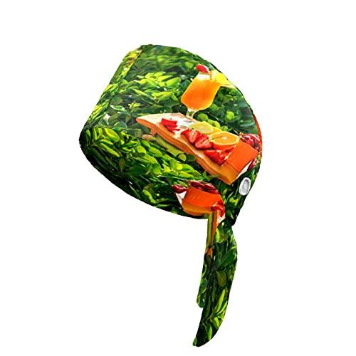 N\O Damen Arbeitskappe mit Knopf Schweißband Wiederverwendbare Hüte Verstellbare Raffhalter Hut Headwraps für Erwachsene Orangensaft Kelch Pflanze