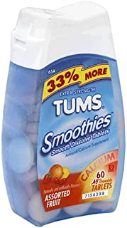 Tums Smoothies Assorted Fruit Extra Strength 750mg- 60 Chewable Tablets