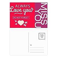 いつもあなたのバレンタインデー愛 ポストカードセットサンクスカード郵送側20個ミス