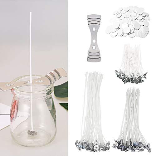 CUKCIC Kerzendocht 150 Stück Gewachst Kerzendochte mit Fuß Aufklebern Dochthalter
