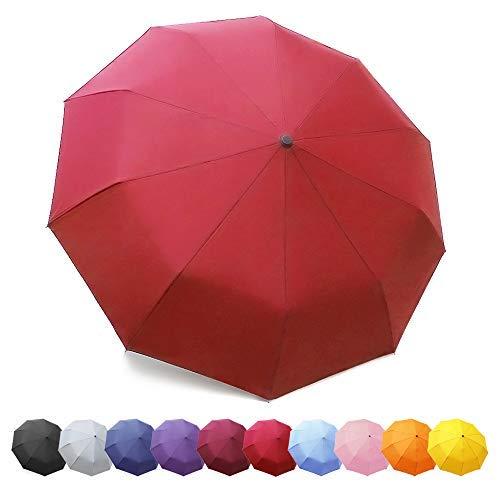 ZOMAKE - Paraguas plegables, teflón 210t, paraguas automático irrompible, 10 ballenas, ideal para hombre y mujer, Rouge(nouveau) (Rojo) - ZOMAKE TM0116K01