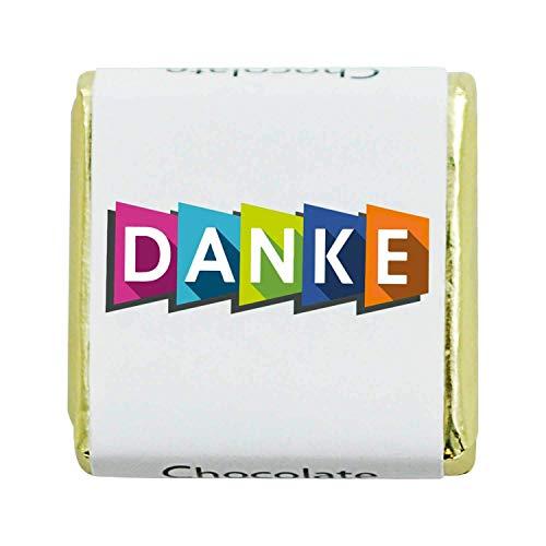 135 Stück Schokoladen-Nougat-Tafeln DANKE, kleine personalisierte Geschenke für Dankeschön Süßigkeiten Box, Gastgeschenke, zum Kaffee, als Tischdeko, Mini Geschenke in Confiserie Qualität