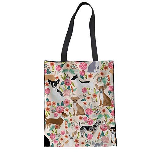 UOIMAG Einkaufstaschen aus Baumwollleinen, niedlicher Chihuahua-Blume, Schultertasche, Handtasche für Damen, wiederverwendbare Einkaufstasche