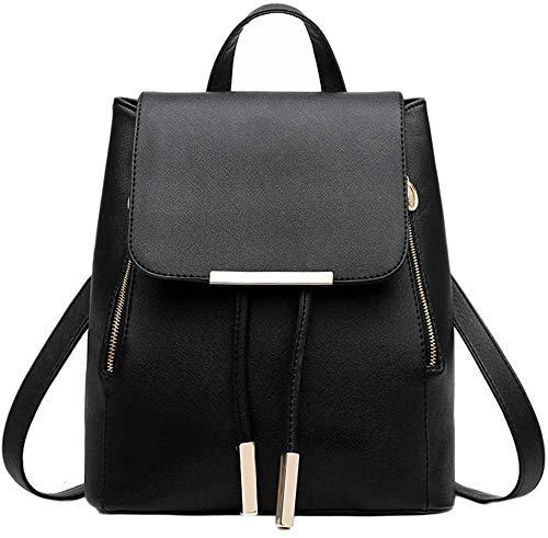 Womens Mini Backpack Wallet PU Leather Canvas Bag Wallet Ladies Casual Shoulder Bag Black