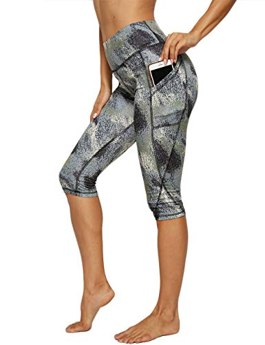 FITTOO Damen 3/4 Sport Leggings Yogahose Sportkleidung Kurz Training Tights #1-Grün(Camouflage) M