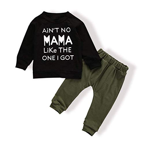 Baby Boy Clothes Funny Letter Printed Tops Leggings Pants Outfits Set for Toddler Boys12-18 Months ArmyGreen