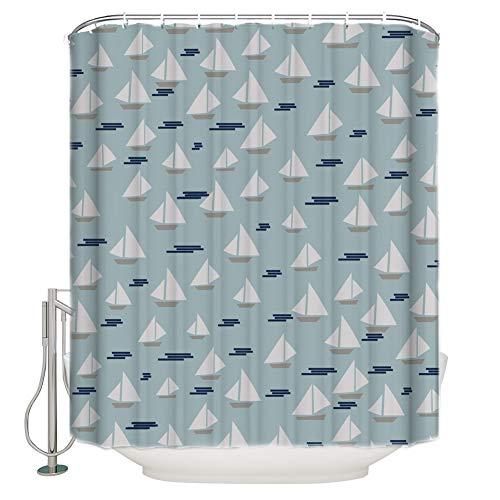 RTTGOR Duschvorhang Duschvorhang Segelboot Cyan Hintergr& Wellen Duschvorhang Badezimmer Vorhang Home Decoration